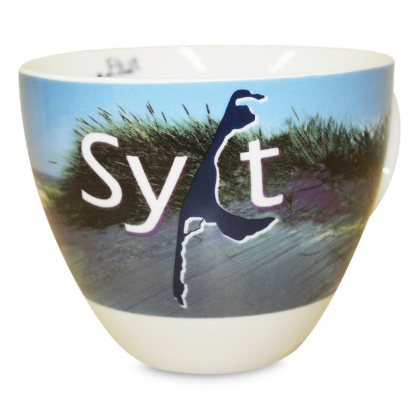 Sylt Tasse, blau/weiss Sylt-Karte